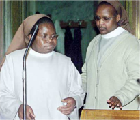 Sisters Gertrude and Maria await trial in their habits